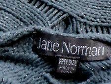 JANE NORMAN MetallicCottonGreySexyOpenKnitFreesize NWoT