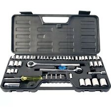 "52PC SOCKET SET 1/4"" 3/8"" 1/2"" SOCKETS 2 RATCHETS RACHET EXTENSION BITS TOOL UK"