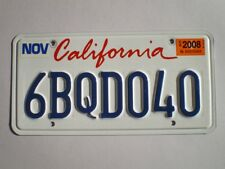 AUTHENTIC 2008 CALIFORNIA LICENSE PLATE