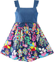 Sunny Fashion Flower Girls Dress Denim Back To School Sling Sundress Size 4-10