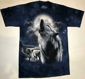 Mountain White Arctic Wolf Howling Pack Grey Wolves Animal Moon Blue Shirt 2X-3X