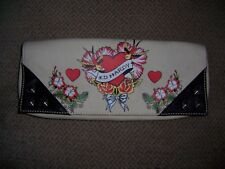 ED HARDY MARILYN KHAKI CLUTCH PURSE W/ SILVER STUDS AND TATTOO DESIGN NWT!