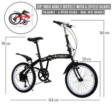 """Adult Bicycle 20"""" INCH Foldable Alloy Spoke Wheel Dual Disc Brakes 6 Speed Gear"""