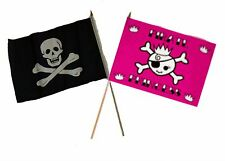 "12x18 12""x18"" Wholesale Combo Pirate No Patch & Pink Princess Stick Flag"