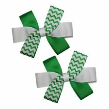 WD2U Baby Girls 2 Twisted Green Chevron St Patricks Hair Bows Alligator Clips