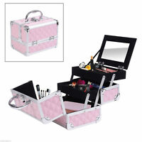 3 Tiers Makeup Train Case Cosmetic Organizer Jewelry Storage Mirror Pink