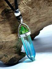 Angel Aura Quartz Blue Green Rainbow Stone Pendant Healing Bead Cord Necklace