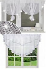 JEWELLED VOILE WHITE NET CURTAIN WITH DIAMENTE LACE READY TO HANG