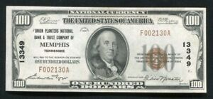 1929 $100 UNION PLANTERS NB & TRUST CO. OF MEMPHIS, TN CH. #13349 UNCIRCULATED