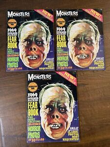 3x FAMOUS MONSTERS OF FILMLAND 1969 YEARBOOK (FEARBOOK) WARREN CLASSIC COVER FN