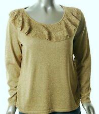 New Polo Ralph Lauren Sweater Women 3x Gold Shimmering Christmas $149 Metallic