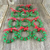 Vintage Wreath Beaded Christmas Ornaments Handmade Plastic Set Lot Green Red