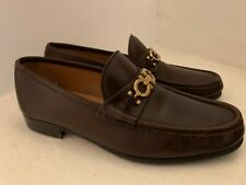 Salvatore Ferragamo Gancini Brown Leather Moccasin Loafers - Size 8.5 EE