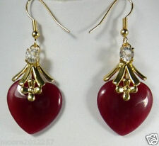 Fashion Beautiful Red ruby Yellow gold hook Dangle Earrings