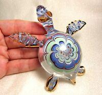 Blue Sea TURTLE Figurine Handmade Blown ART GLASS 4 Inches Aquarium GIFT Ocean
