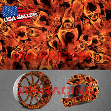 "19""x78"" Hydrographic Film Hydro Dipping Water Transfer Fire Flame Skull Evil #14"