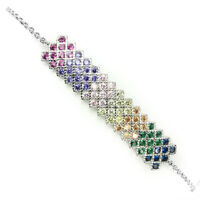 Aaa Multi Color Cubic Zirconia 14k White Gold Plate 925 Sterling Silver Bracelet