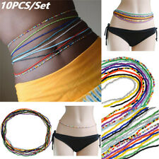 10pcs Set Handmade Body Chain Beads Elastic Waist Chain Simple Single Multilayer