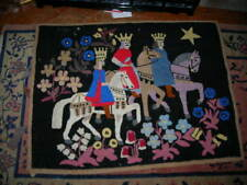 CHRISTMAS SPECIAL! VINTAGE/ANTIQUE WOOL3 KINGS AMERICANA HOOKED RUG 37X28