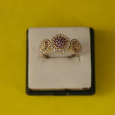 Superb 925 Silver Ring With Turkish Amethyst And Topaz 2.2 Gr.Size P 12 In Box
