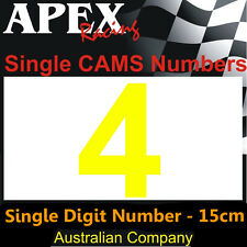 CAMS Window Number 4 Sticker - Single Number 15cm - Race Rally Drift - Yellow