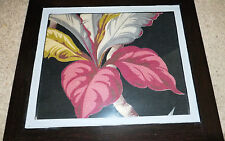 30's Barkcloth Nubby Hawaiiana Florida bungelowl  type art picture framed 14x19