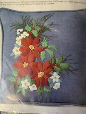 Poinsettia Pillow Vintage Embroidery Kit Columbia Minerva Sealed 14x14