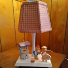 Vintage Wooden Nursery Lamp IRMI Nursery Plastics Jack & Jill Lighted Well 1970s