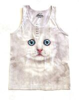 The Mountain 100% Cotton Women's Tank Top - Ivory Kitten Face NWT