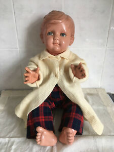 Lovely Vintage 'French' Boy Doll  c 1940 in tartan trousers knitted wool coat