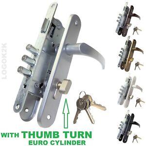 DOOR HANDLE ENTRANCE SET EURO SASH LOCK METAL POWDER COATED  3 BOLT THUMB TURN