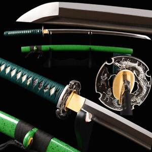 Green Japanese Samurai Sword Katana Manganese Steel Sharp Blade Straight Hamon