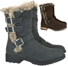 LADIES WOMENS WINTER WARM FUR LINNED MID CALF ANKLE BUCKLE ZIP SHOES BOOTS SIZE