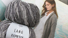 650g EOWYN Bändchen Wolle Lang Yarns Luxus Strick Mantel Grau Baumwolle Natur