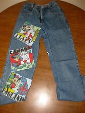 MICKEY MOUSE vtg blue-jeans Disney retro icon World Tour patches size 26 denim