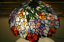 "18""W Zinc Base Flowers Handcrafted Stained Glass Jeweled Table Desk Lamp"