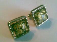 Solid Post CUFFLINKS Gold Tone w/ Pyrite or Gold Leaf Epoxy Center Unique