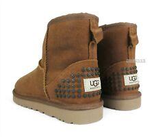 UGG Classic Mini Leather Studs Chestnut Fur Boots Womens Size 8 *NIB*