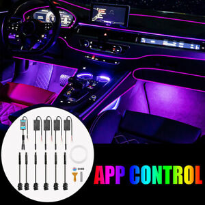 1in6 6M RGB LED Car Interior Lamp Decor Ambient Light Strips App Control For BMW