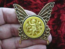 cs54-2) Cherub garden yellow + ivory Cameo butterfly Pin Pendant Jewelry brooch