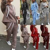 2Pcs Set Women Winter Tracksuit Hooded Hoodie Sweatshirt Loose Jogger Pants Suit