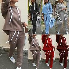 Damen Sportanzug Jogginganzug Trainingsanzug Hoodie Kordelzugpullover Hosen Set