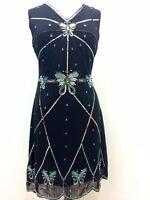 BNWT Gatsby BLACK Butterfly dress Evening 1920's Shift Dress Size 8 10 12 14 16