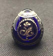Traumhaftes Glas Ei Faberge Modern Russland Blau bronzierter Schliff Antik Alt