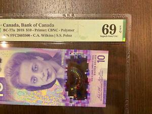 High Grade Canada Bank of Canada Bc-77a 2018 10$ Polymer PMG 69 EPQ