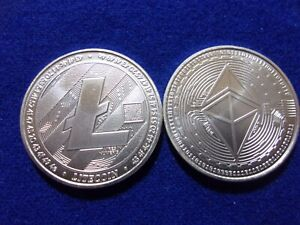 Litecoin and Ethereum crypto currency .999 fine silver rounds. Lot of 2 rounds.