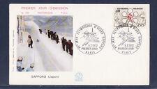 enveloppe 1er jour  Jeux Olympiques d' Hiver Sapporo  Paris   1972