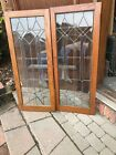 Sg 3289 Pair Antique leaded glass oak cabinet doors 35.75 x 44.25