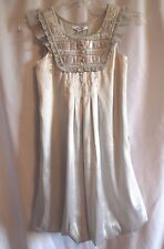DKNY Girls Silver Satin Beaded Ruffled Bubble Shift Special Occasion Dress XL 16