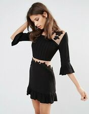 FOR LOVE&LEMONS (S)LILOU BLACK/NUDE RAYON CREPE FLIRTY MINI DRESS NWT MSRP$215